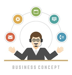 Business man support service concept and flat vector