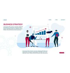 Business strategy landing page for data analysis vector