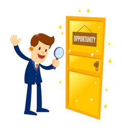 Businessman found a golden opportunity door vector