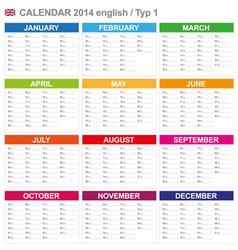 Calendar 2014 English Type 1 vector image