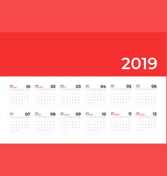 calendar 2019 template calendar planning week vector image