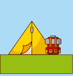 Camp flat lanscape vector