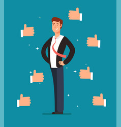 Cartoon proud employee with many thumbs up hands vector