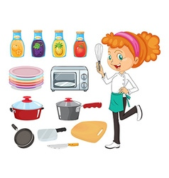 Chef and kitchenware vector