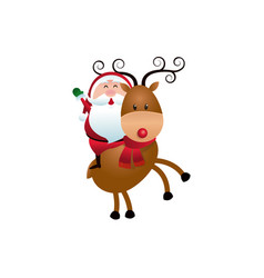 christmas santa claus riding reindeer cartoon vector image
