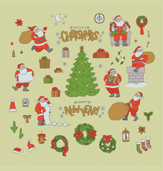 christmas set santa claus holiday symbols vector image