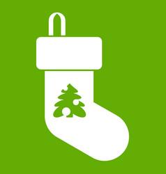 christmas sock icon green vector image