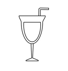Cocktail glass and straw icon imag vector