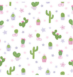 colorful cacti party seamless pattern vector image