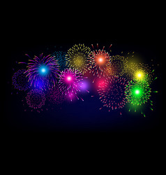colorful firework for christmas and happy new vector image