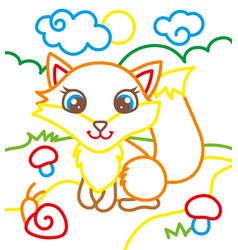coloring book of cute fox vector image