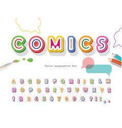 comics 3d font cartoon paper cut out abc letters vector image