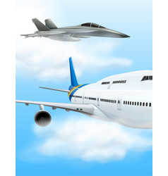 commerical aircraft and fighter jet vector image
