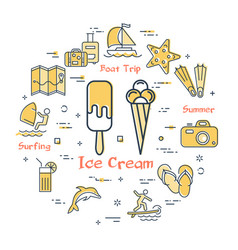 concept of summertime with ice cream vector image
