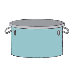 Cooking pot colorful blurred contour vector