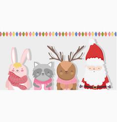 cute santa reindeer raccoon and bunny lights vector image