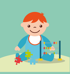 Cute toddler boy with toys abacus and puzzles vector