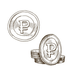 doodle icons of coins on the isolated white vector image