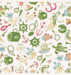 doodle kids sea animals seamless pattern vector image