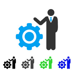 Engineer and gear flat icon vector