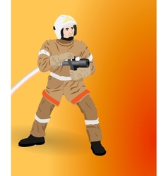 Firefighter at work vector