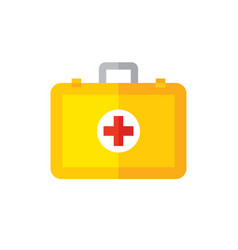 first aid kit bag icon in flat vector image