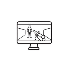 First person shooter video game hand drawn outline vector