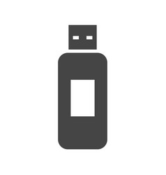 flash drive bold black silhouette icon isolated vector image