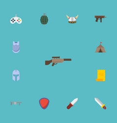 Flat icons viking helmet protection shotgun and vector