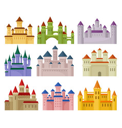 flat set of colorful royal castles large vector image