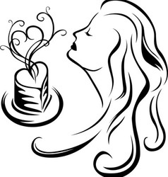 Girl enjoying aroma coffee vector