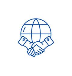 global partnership line icon concept global vector image