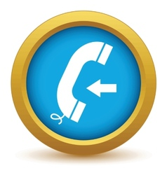 Gold incoming call icon vector