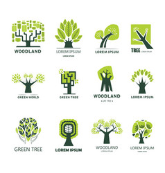 Green tree park or woodland icons vector