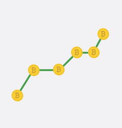 growth graph with bitcoin sign in flat icon design vector image