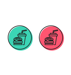 hamburger with drink icon fast food restaurant vector image