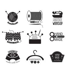 Handmade monochrome logos vector