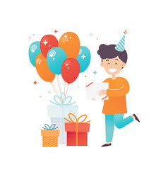 happy little boy his birthday presents and glossy vector image
