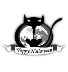 Holloween Black Cat And Moon vector