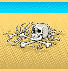 human skeleton in the desert pop art vector image