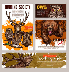 Hunting club banner with deer duck bear and boar vector