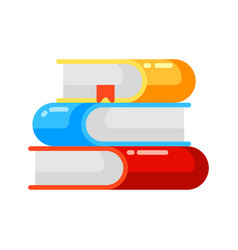 icon stack books in flat style vector image