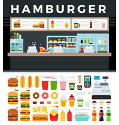 Image a fast food store with a hamburger sign vector