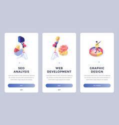 isometric landing page set vector image