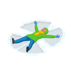 isometric snow angel made a kid in snow vector image