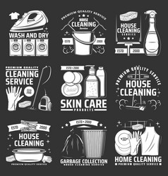 laundry house cleaning icons accessories vector image