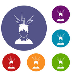Lightning above the head of man icons set vector