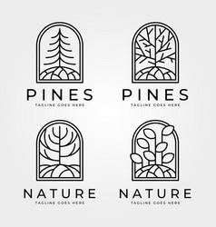 Line art tree nature logo abstract design vector