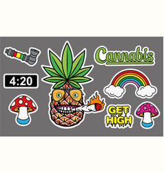 marijuana sticker set sticker skate vector image