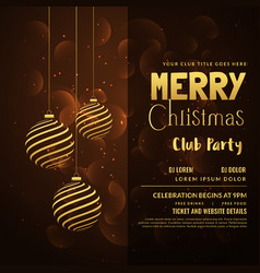 merry christmas card design with hanging xmas vector image